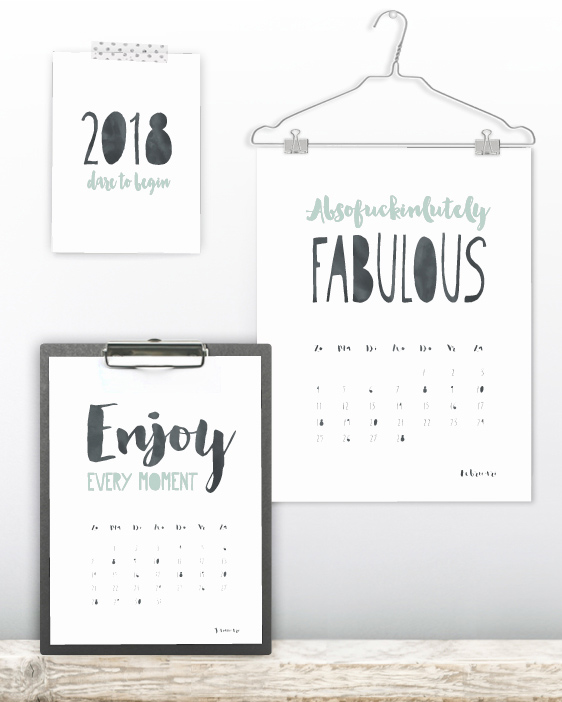 Kalender Quotes 2018 - Hippe jaar kalender met stoere korte quotes en citaten in zwart-wit of met kleur- accent