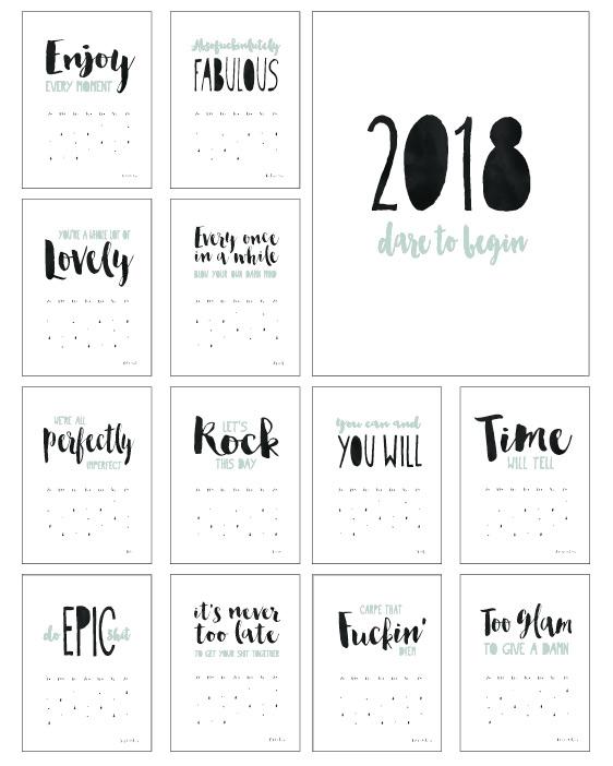 Kalender Quotes 2018 - Stoere korte quotes in zwart-wit met kleuraccent ( mint groen - geel - donkerblauw)