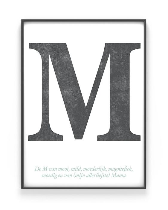 Letter Poster Typografisch - zwart-wit letter poster met eigen tekst voor Moederdag