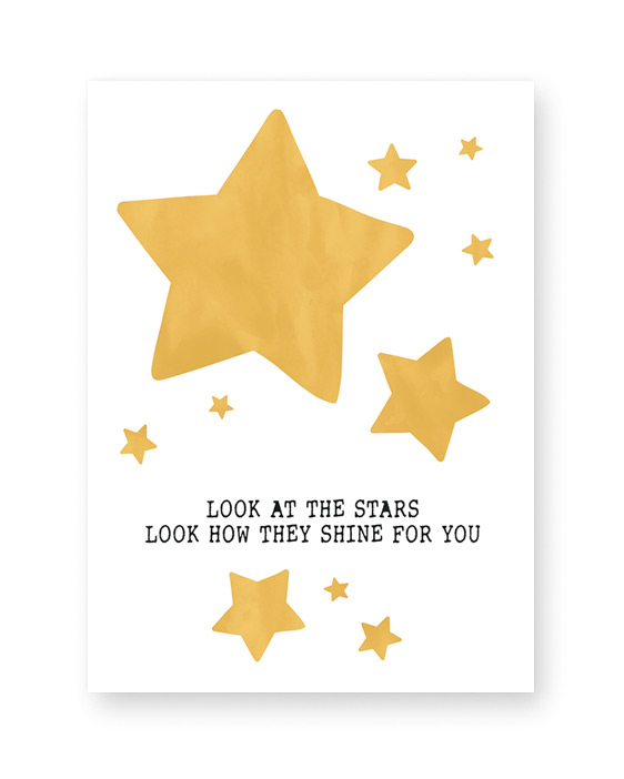 Sterren Poster Babykamer - Geel met Sterren - zelf poster maken bij Printcandy