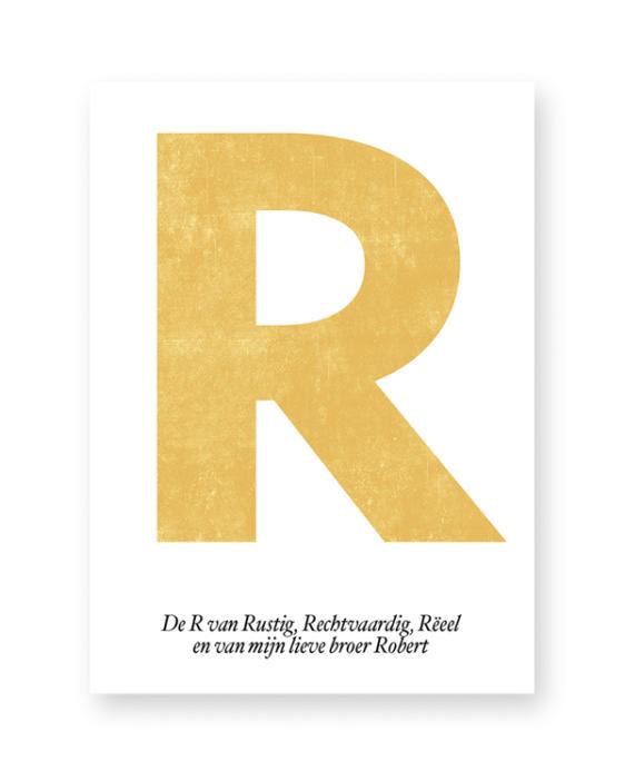 Letter Poster Typografisch - zwart-wit letter poster met eigen tekst. Online zelf naam posters maken met eigen Tekst)