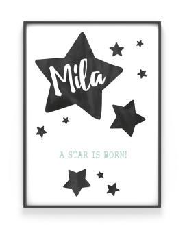 Sterren Poster Babykamer - zwart wit naam poster kinderkamer zelf maken bij Printcandy