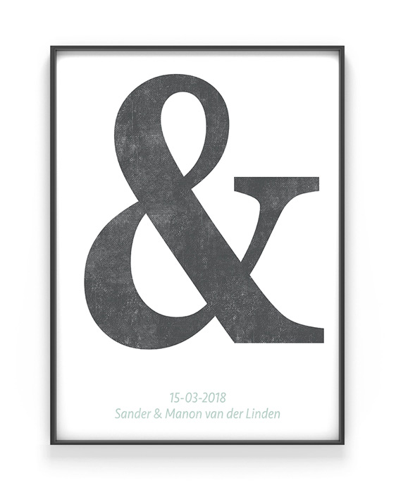 Letter Poster Typografisch | Ampersand Trouwposter | Printcandy