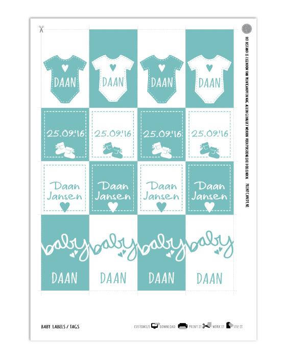 Printables, Baby , Babyshower , D.I.Y , Cupcake, Gepersonaliseerd met eigen tekst of naam