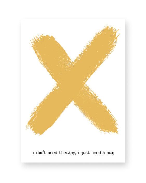 Poster grote X met eigen tekst -Geel