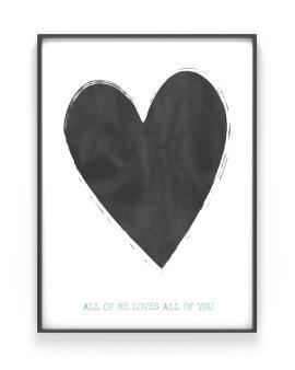 Poster met Hart - zwart-wit of met kleur-accent, Eigen Tekst