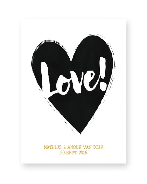 Poster met Hart - zwart-wit met kleur-accent - met eigen tekst of Naam