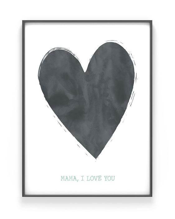 Poster met Hart | Moederdag poster met eigen Tekst | Printcandy