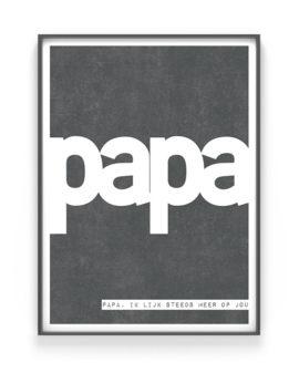 Vaderdag Cadeau | Woord Papa Poster met eigen woord en tekst | Printcandy