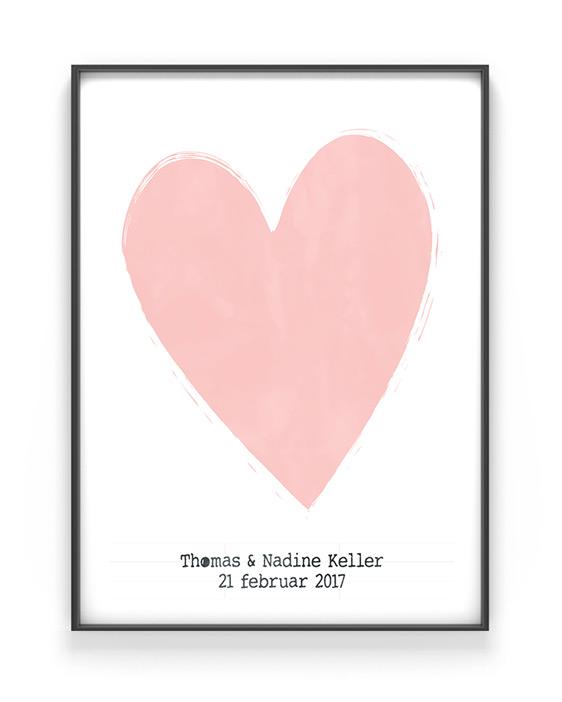 Valentijnscadeau - Love Poster met hart en eigen tekst