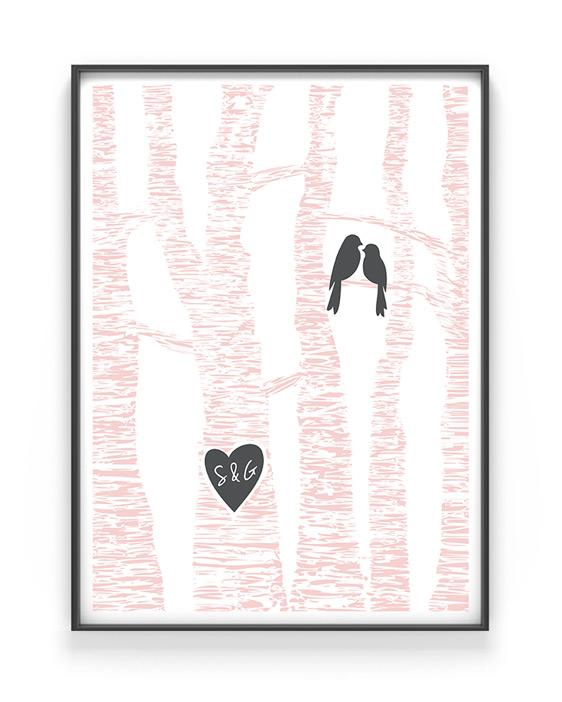 Valentijn-poster met vogels en Initialen in boom