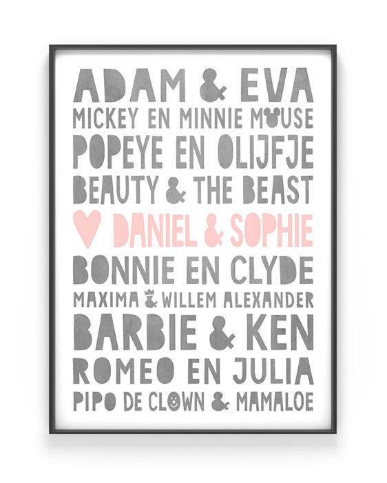 Valentijnscadeau | Famous love poster met namen