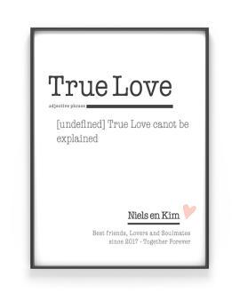 Trouw Poster Woord defenitie 'Love' | Gepersonaliseerd Cadeau | Printcandy