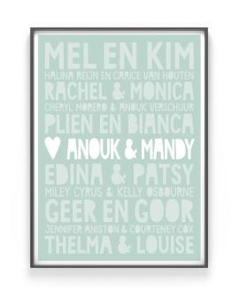 Gepersonaliseerde Poster Vriendin | Famous BFF's | Poster voor Beste Vriendin | Printcandy