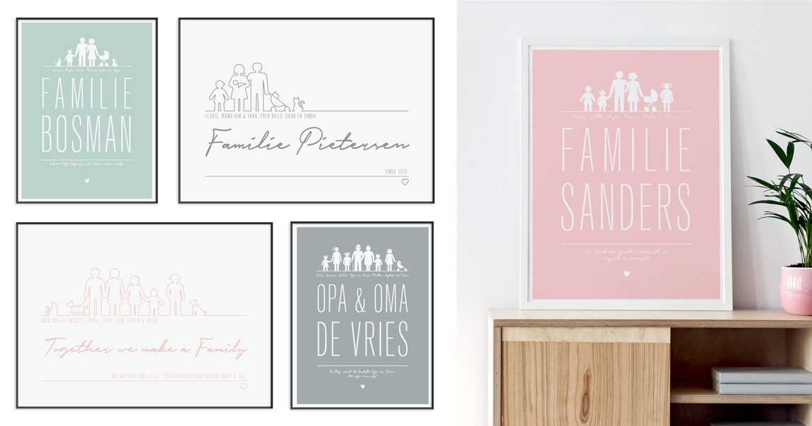 Gepersonaliseerde Familie Posters in full colour en zwart wit