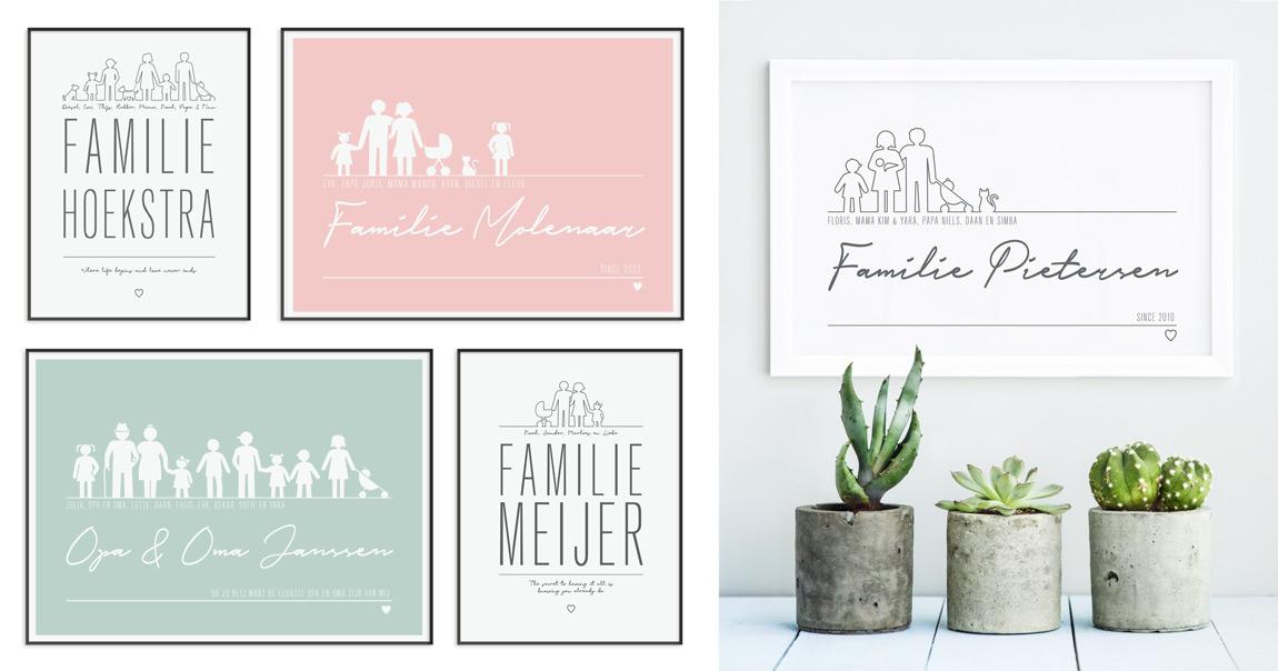 gepersonaliseerde Familie Poster met Icoontjes in Roze, Mint en Zwart Wit