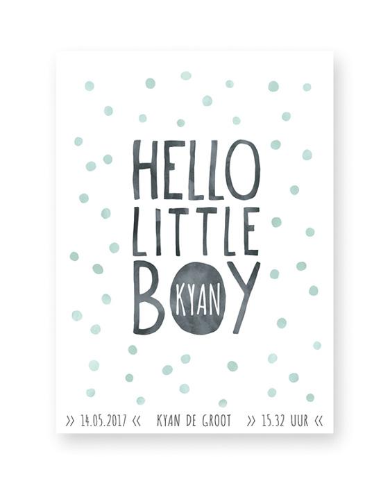 Baby Geboorteposter Jongen | Hello little boy | voor hippe mamas | Printcandy