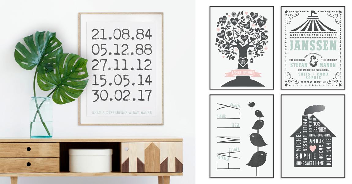 Gepersonaliseerde Familie Posters in zwart wit met pastel accent kleur