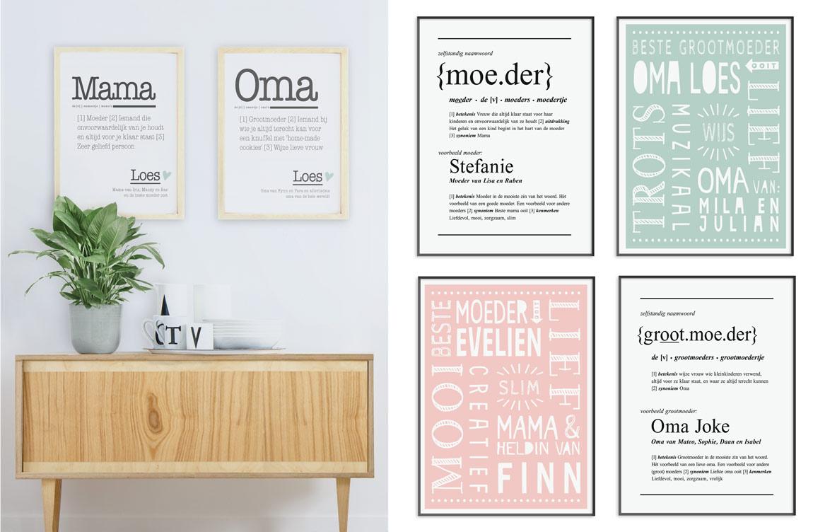 Gepersonaliseerde Woordenboekposters voor Moeder en Mama