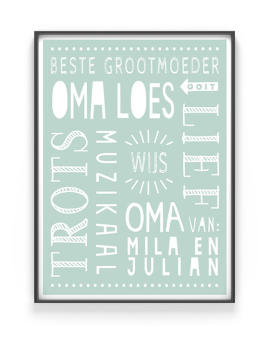 Poster Opa en Oma | gepersonaliseerd cadeau moederdag | Printcandy