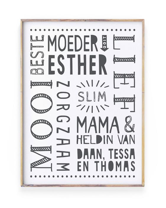 Top 10 Mooiste Moederdag Cadeaus - Gepersonaliseerd poster voor mama