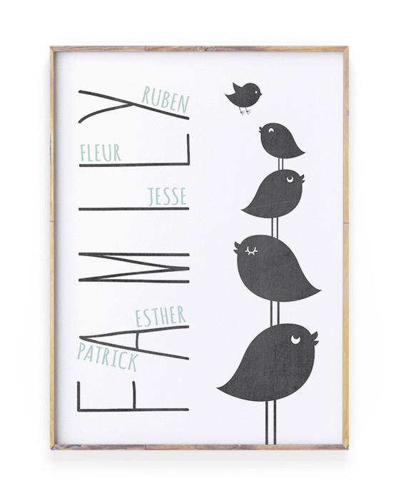 Top 10 Mooiste Moederdag Cadeaus - Vogel Familie Poster gepersonaliseerd met namen gezin