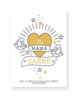 I Love Mama Poster met Naam en eigen tekst zelf maken. Voor Moederdag
