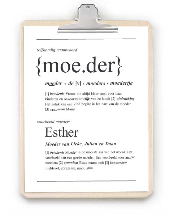 woordenboek poster Moeder - gepersonaliseerd met naam