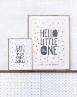 Hello Little One Poster - Confetti Poster voor Babykamer met naam