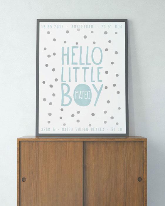 Hello Little Boy Poster - Confetti Geboorteposter voor jongetje met stippen