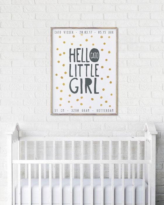 Hello Little Girl Poster - Confetti Geboorteposter voor meisje met stippen