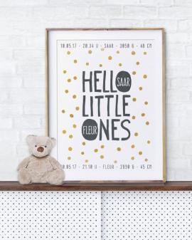 Hello Little Ones Poster - Geboorteposter voor Tweelinegn met Stippen