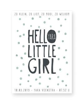 Confett Geboorteposter Meisje | Hello little Girl | Printcandy