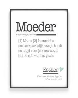 Poster Woord Definitie - Woordenboek poster Moeder - met eigen tekst, Printcandy