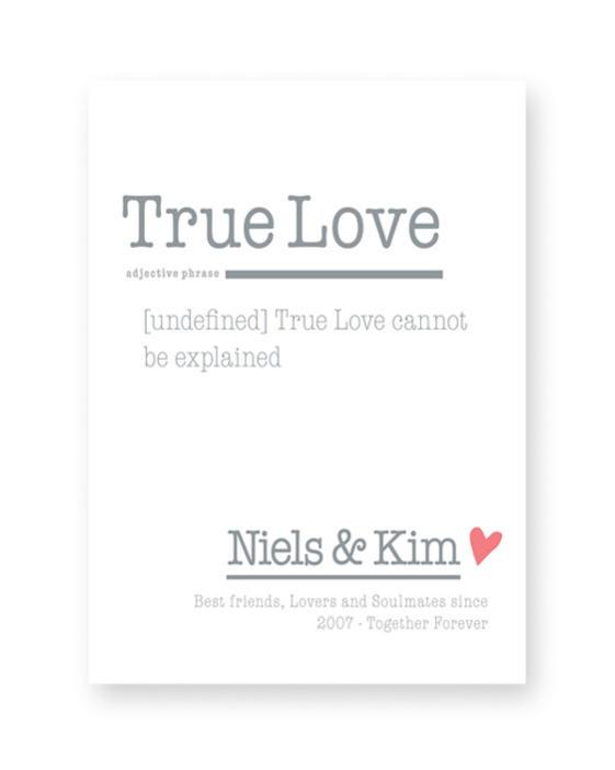 Woordenboek Liefde - Trouw-Poster Woord met eigen woord en tekst maken
