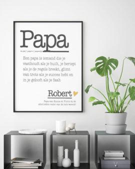 Papa Poster - Woordenboek - met eigen tekst en naam | Printcandy