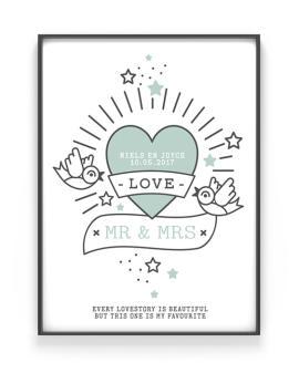 Tatoeage Poster met Hart | Trouwen | Gepersonaliseerd | Printcandy