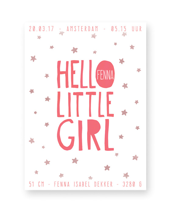 Hello Little Girl - Confetti Geboorteposter voor meisje - zelf online maken