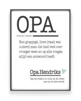 Poster Woord Definitie | Woordenboek Poster Opa | Printcandy