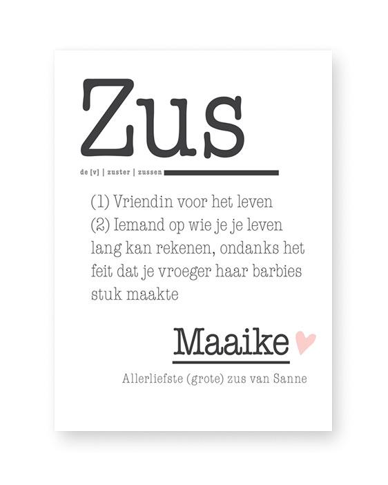 Woordenboek Zus - Poster Woord met eigen woord en tekst maken