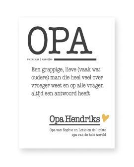 Poster Woord Definitie - Woordenboek Poster Opa - Printcandy