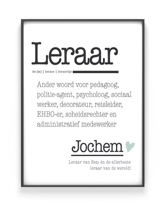 Poster Woord Definitie -Woordenboek postermet naam voor Juf of meester van Printcandy