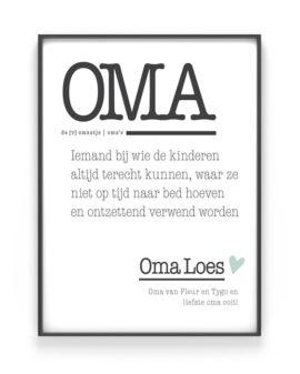 Poster Woord Definitie | Gepersonaliseerde Woordenboek Poster Oma | Printcandy