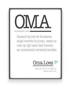 Poster Woord Definitie - Woordenboek poster Oma - met eigen tekst | Printcandy