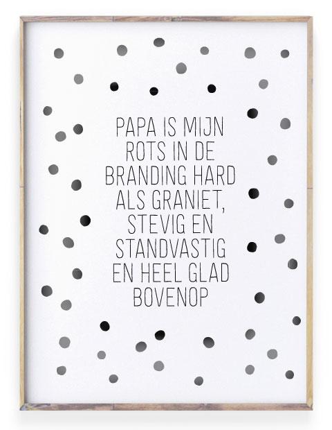 Teksten voor papa - zwart-wit Poster met eigen Tekst maken - Printcandy