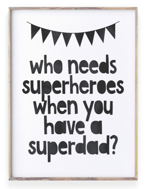 Teksten voor Papa - Super Papa Poster zwart-wit met eigen tekst - Printcandy