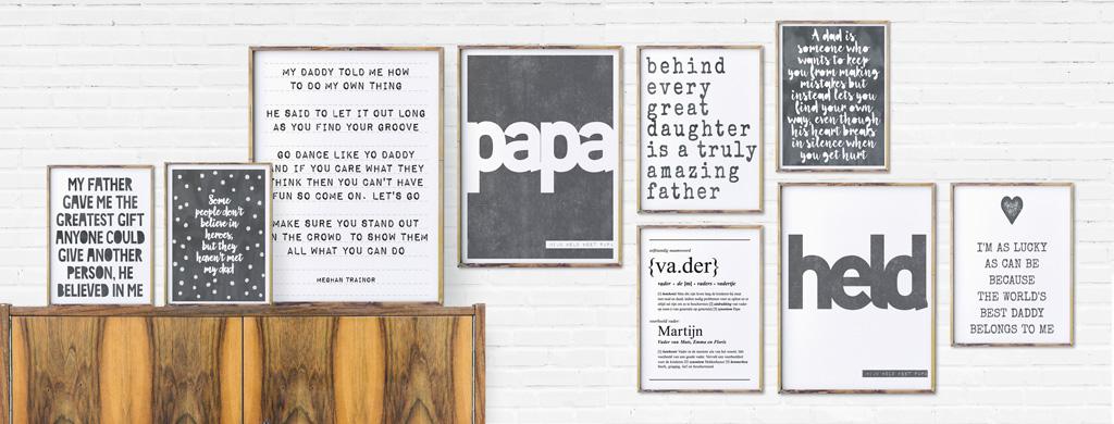 Teksten voor Papa - Zwart-wit Posters met eigen tekst maken - Printcandy