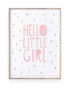 Geboorteposter Meisje - Confetti Geboorteposter voor meisje met stippen