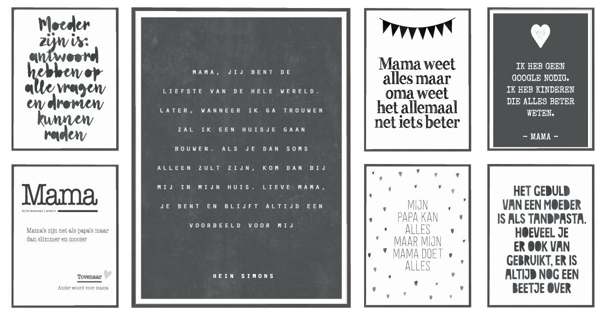 Zwart wit posters met nederlandse teksten voor mama