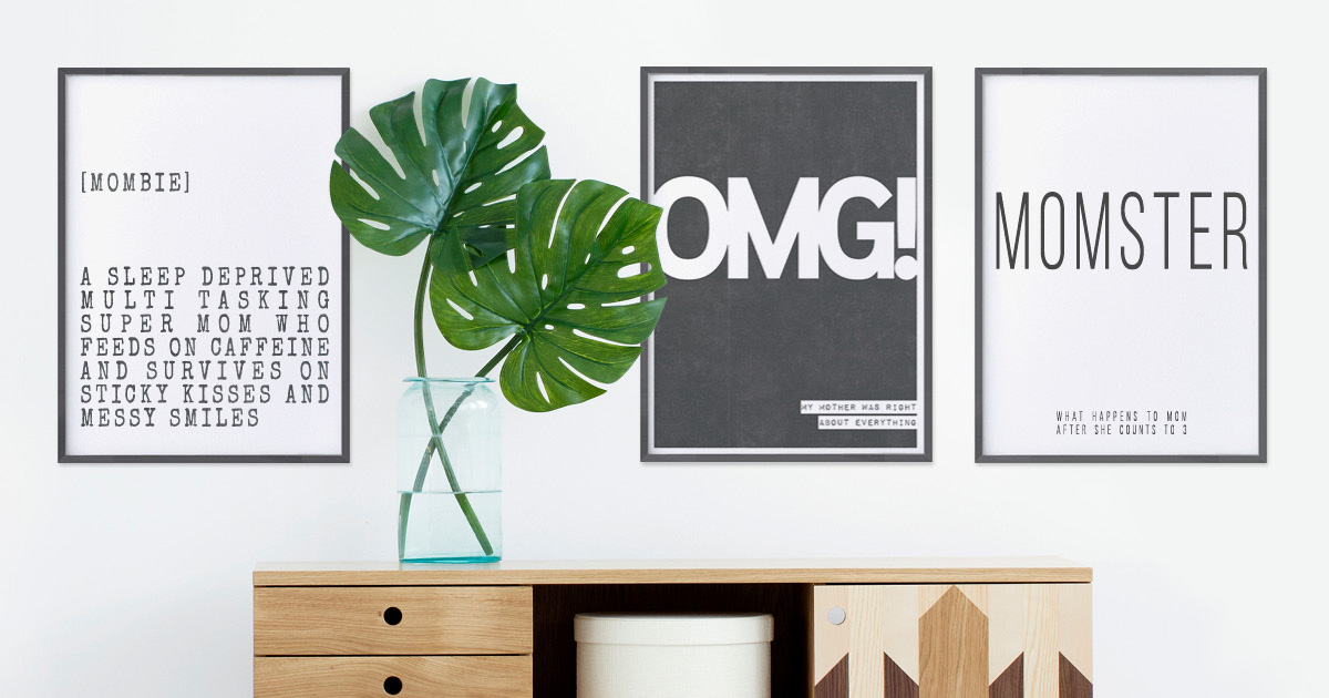 Zwart wit Posters met grappige quotes voor moederdag